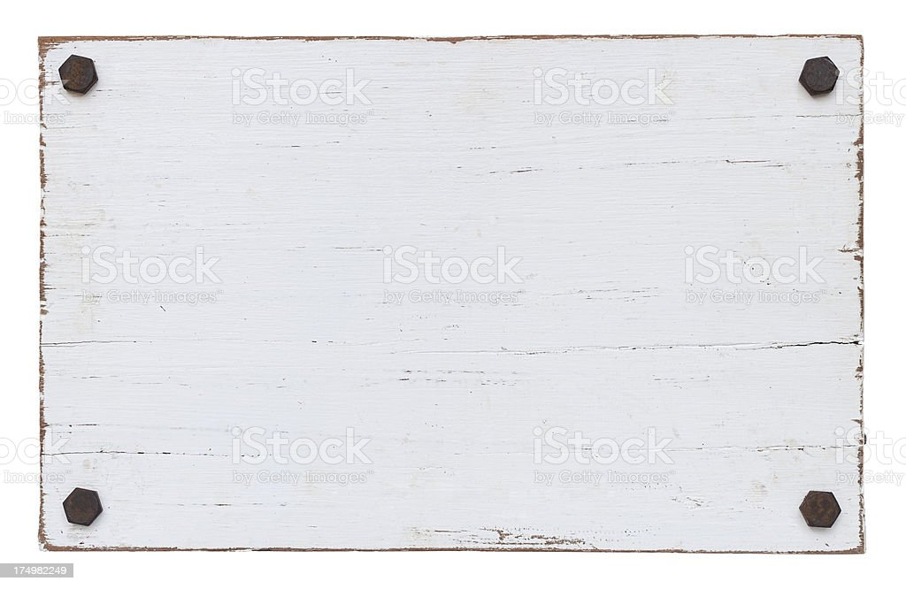 White grunge wood board with four bolts. royalty-free stock photo