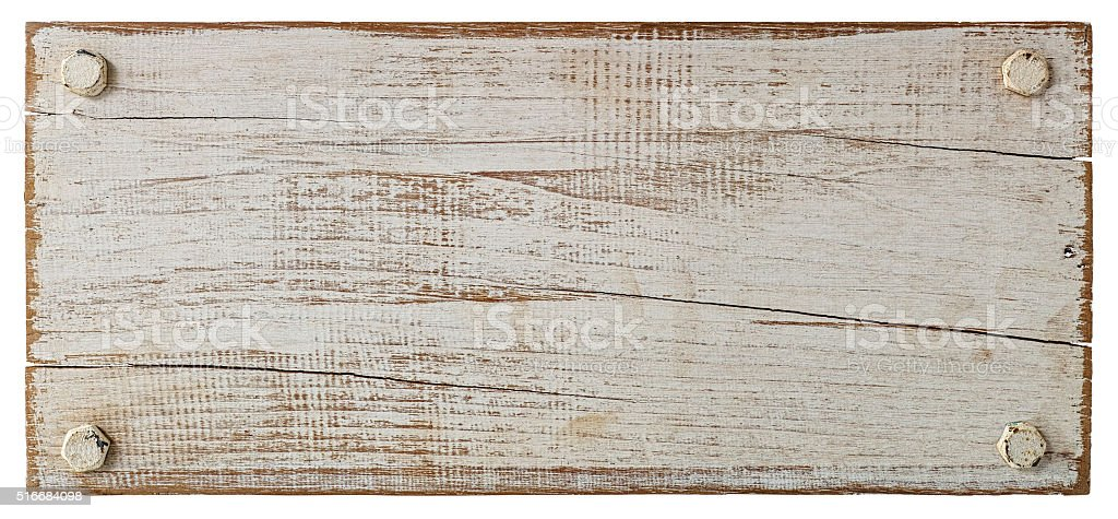White grunge wood board with four bolts. stock photo