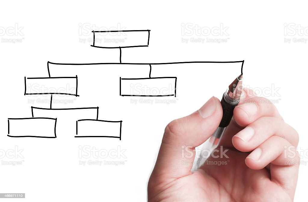 A white hand drawing a family tree in black pen stock photo