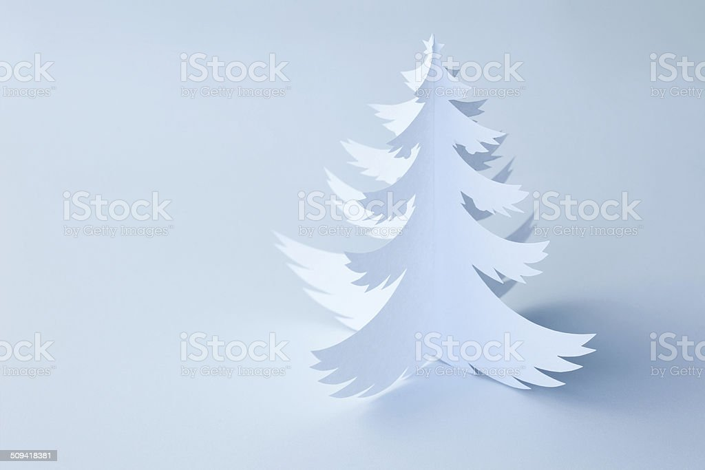 White Handmade Paper Christmas Tree - horizontal stock photo