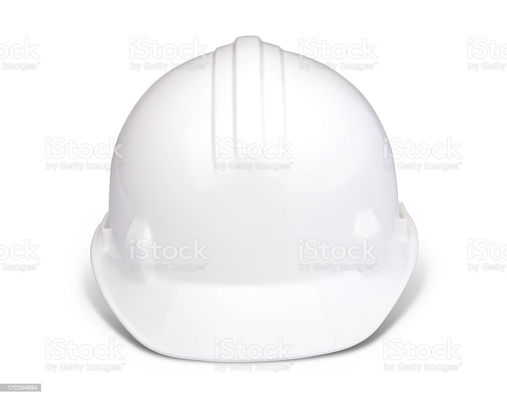 White hard hat with clipping path stock photo