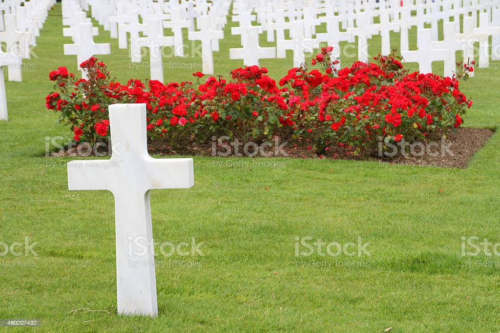 white headstone, Normandy American Cemetery, France stock photo