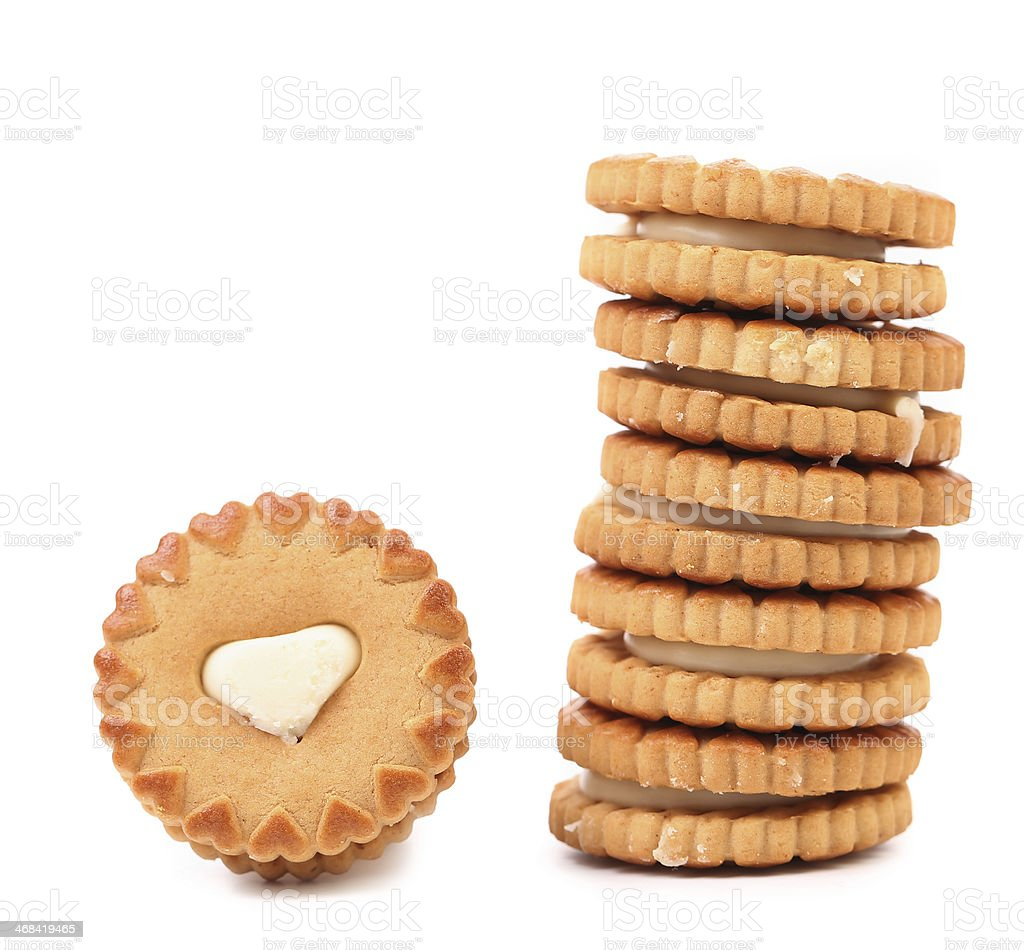 White heart. Cookie biscuits with filling. royalty-free stock photo