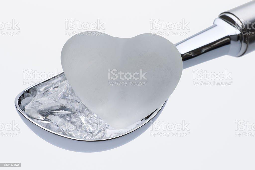 White Heart on Ice Cream Scoop stock photo