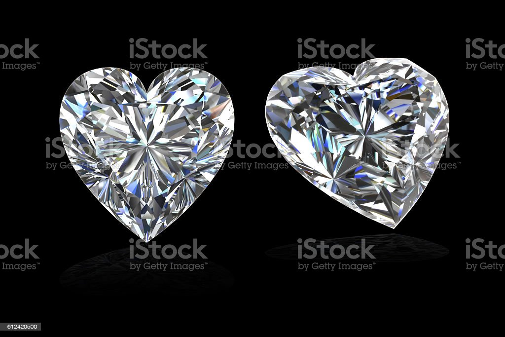 CZ white Heart shape on black background ,3D rendering stock photo