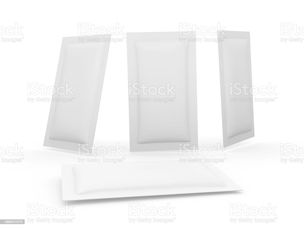 White heat sealed packet with clipping path stock photo