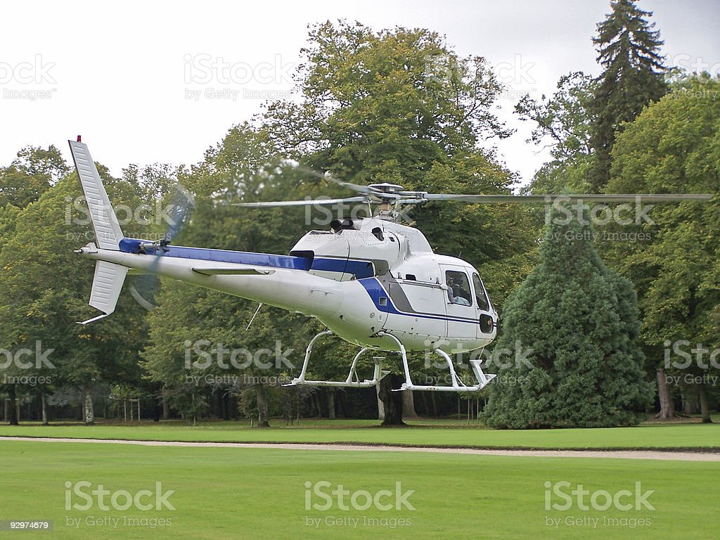 White Helicopter taking off royalty-free stock photo