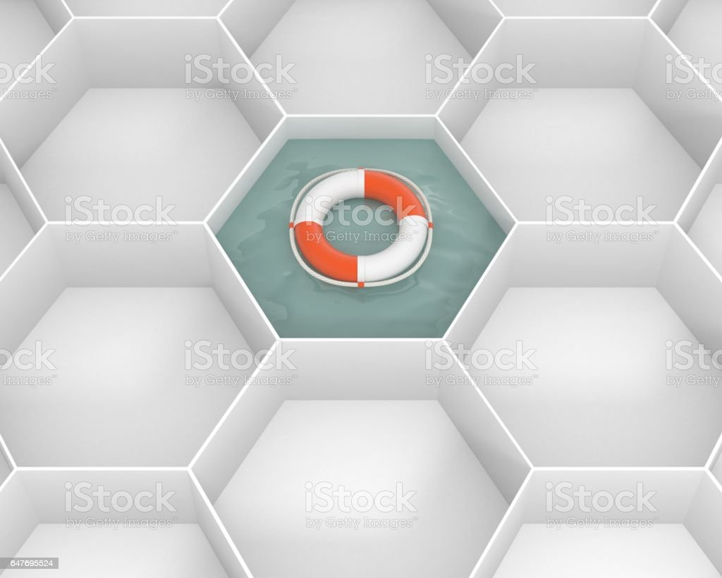 White hexagon cells with Life Saver buoy at the pool water. Concept and idea mockup. stock photo