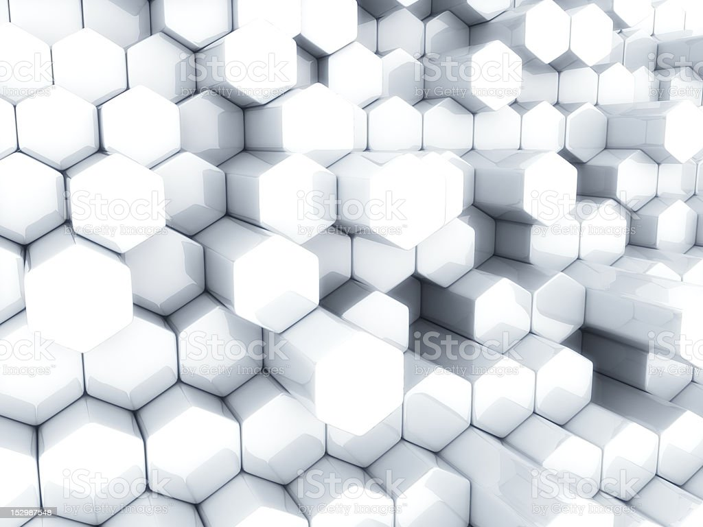 White hexagons royalty-free stock photo