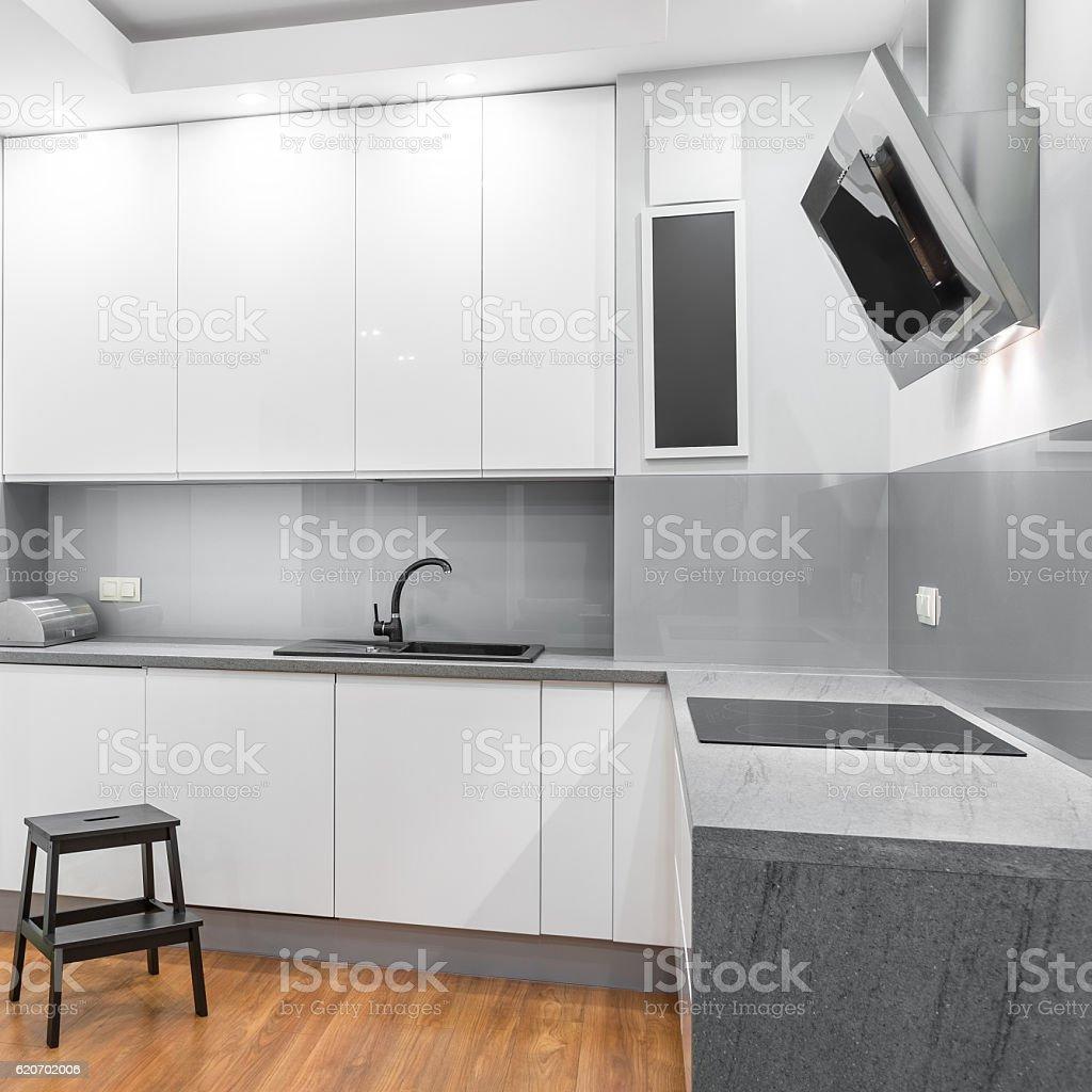 White high-gloss kitchen stock photo
