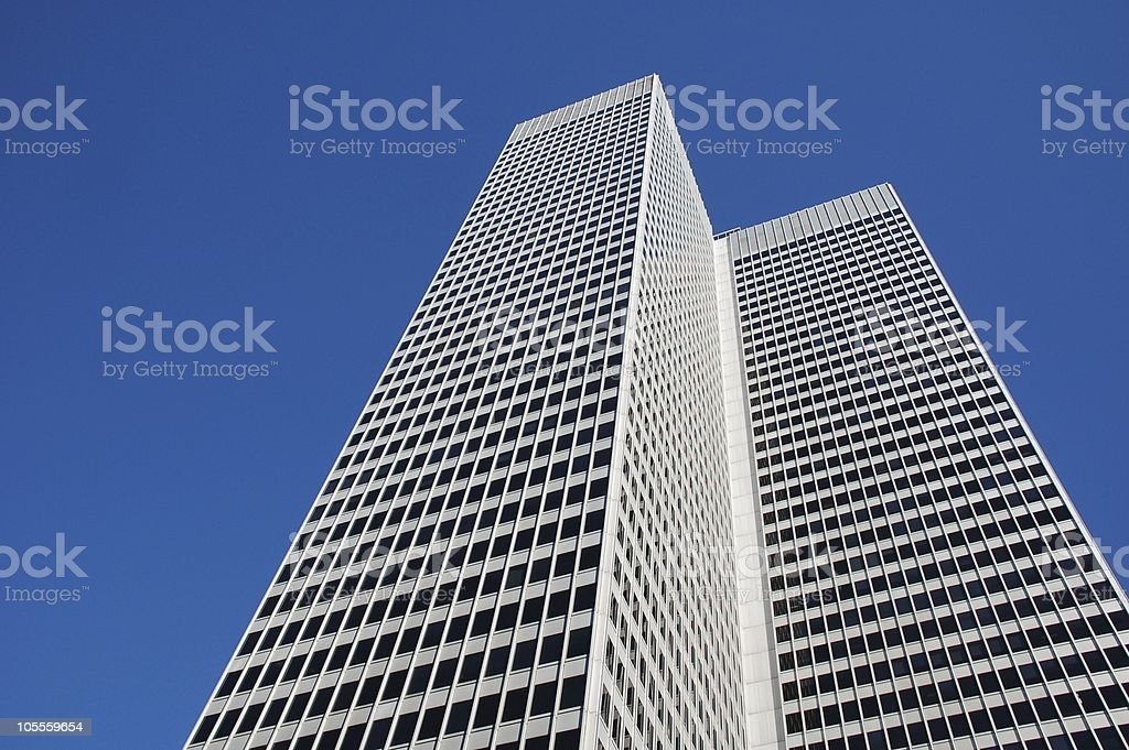 White High-Rise against Blue Sky stock photo