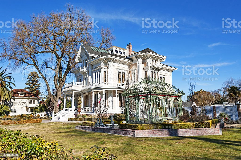 White historic mansion in Woodland, California royalty-free stock photo