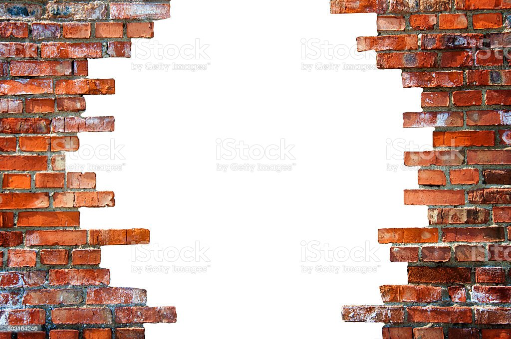 White hole in the brick wall stock photo