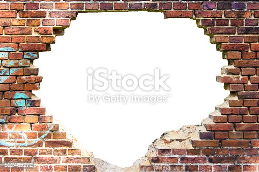 White Hole In The Old Brick Wall Stock Photo 522465272