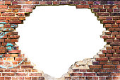 White hole in the old brick wall