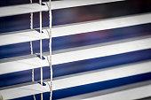 White horizontal blinds