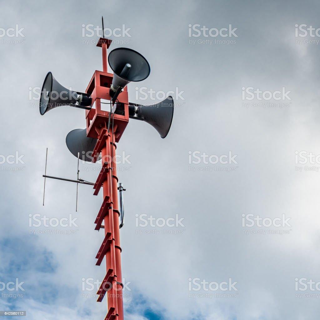 White horn speaker stock photo