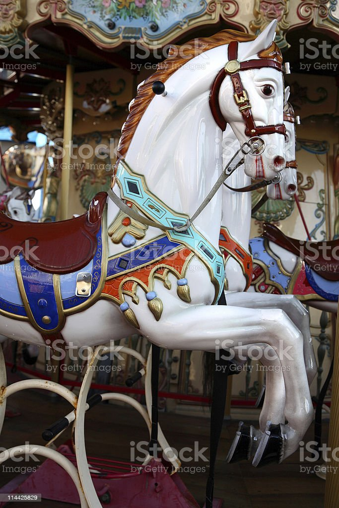 White horse in a carousel royalty-free stock photo