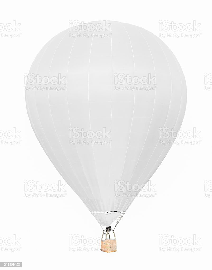 White hot air balloon with basket isolated on white background stock photo