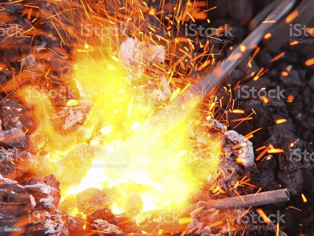 white hot blacksmith stock photo