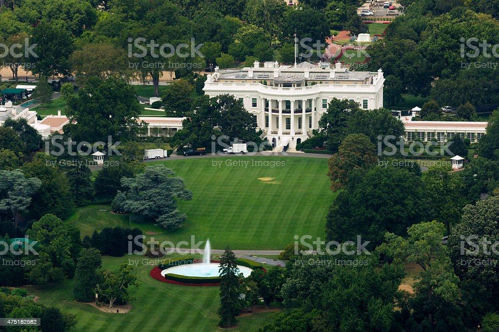 White House as seen from Washington Monument stock photo
