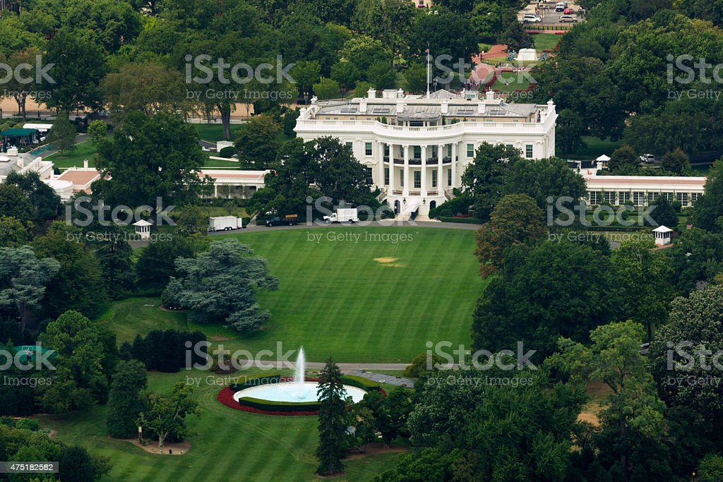 White House as seen from Washington Monument stock photo
