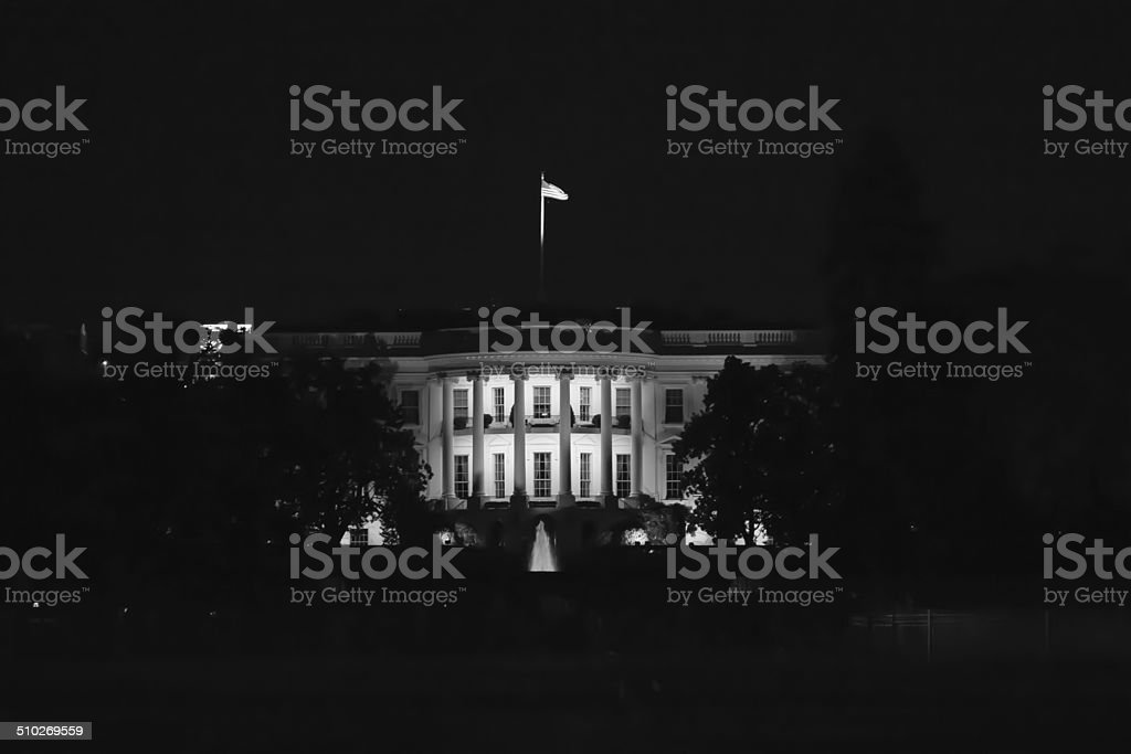 US White House at Night in Black and White stock photo