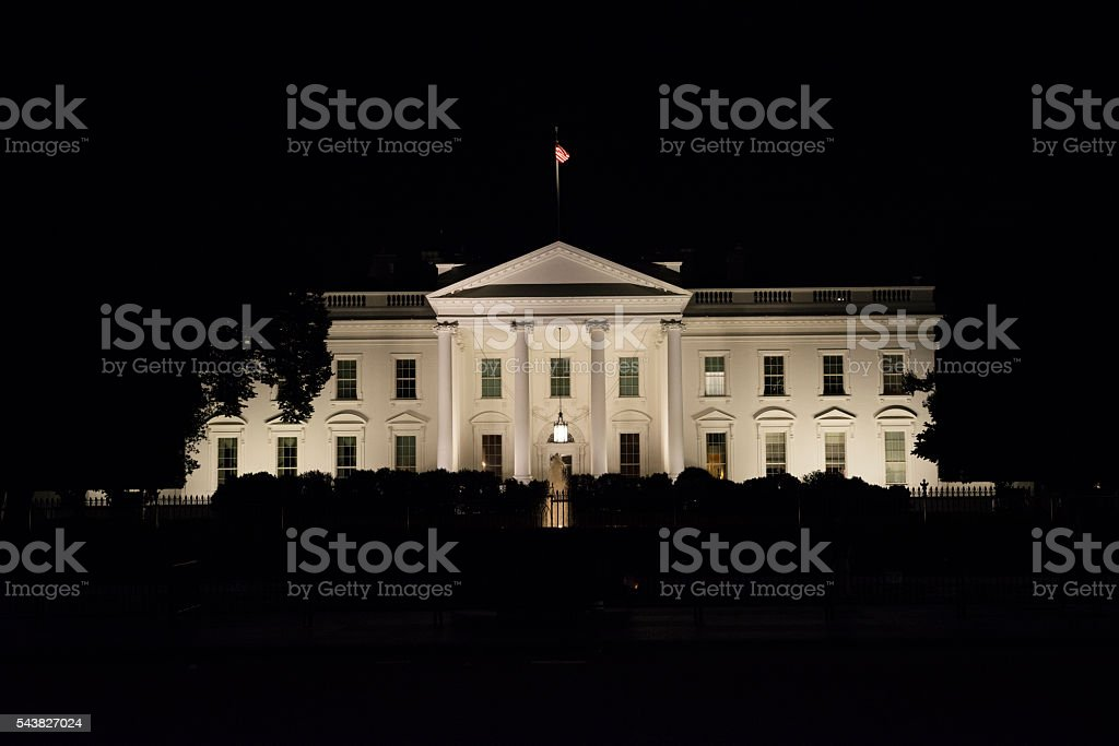 White House at night in Washington DC stock photo