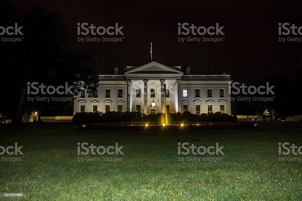 White house in Washington at night stock photo