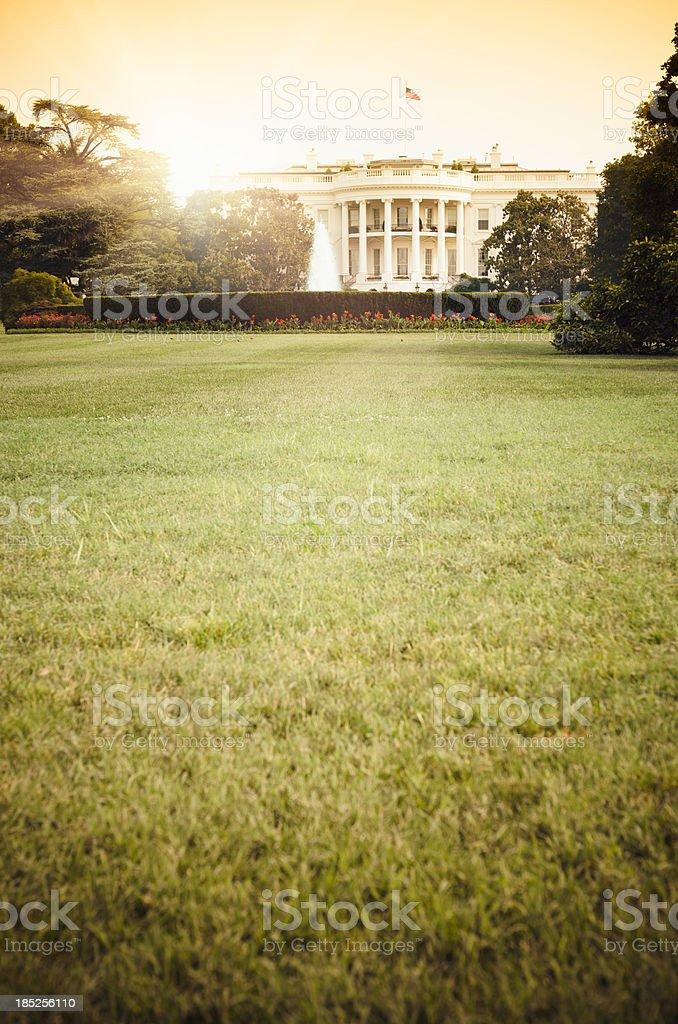 White House in Washington DC at sunset stock photo
