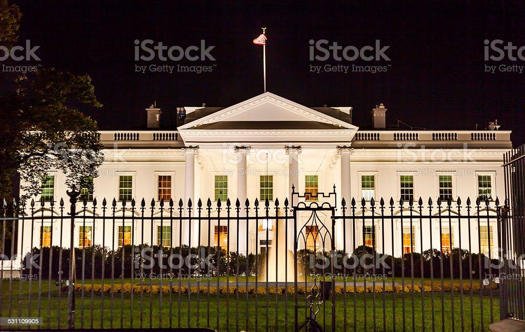 White House Night Pennsylvania Ave Washington DC stock photo