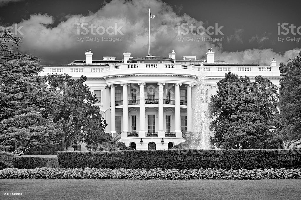 White House Portico and Lawn in Black and White stock photo