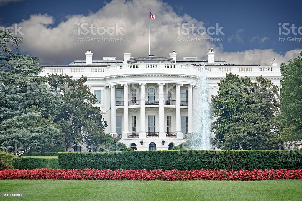 White House Portico and Lawn stock photo