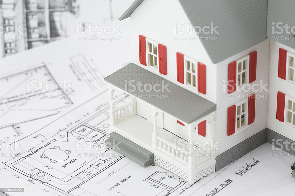 White House Replica on top Architectural Plans royalty-free stock photo
