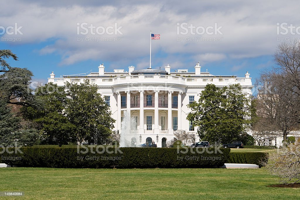 White House South Lawn, Blue Sky, Washington, DC, USA stock photo