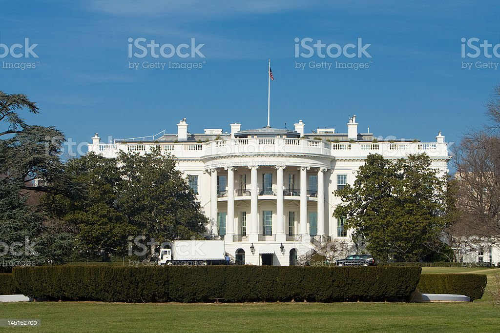 White House South Lawn, Delivery Truck, Blue Sky, Washington, DC royalty-free stock photo