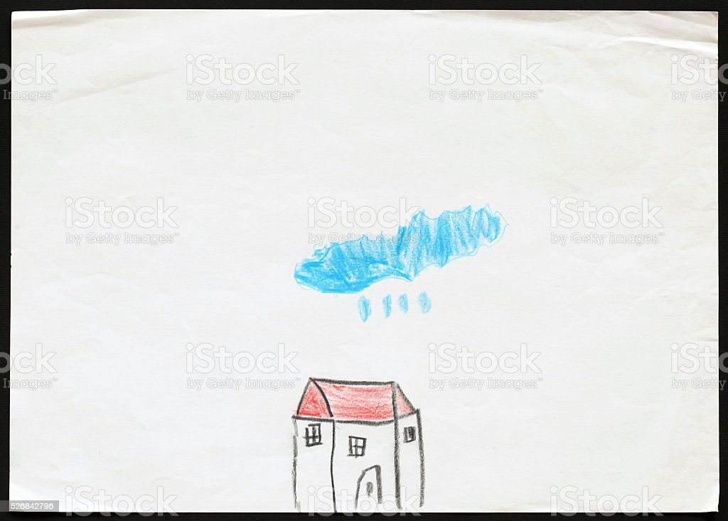 White House under the Raining Blue Cloud. Child's Drawing. stock photo