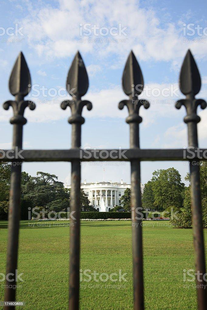 White House Washington DC Lawn Behind Iron Gate royalty-free stock photo