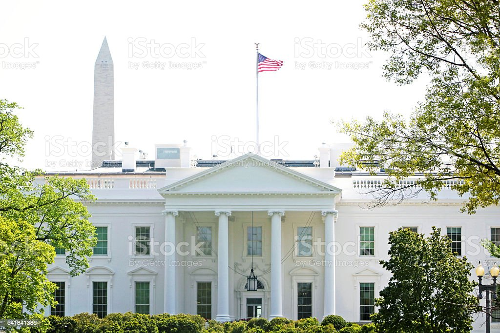 White House Washington Monument stock photo