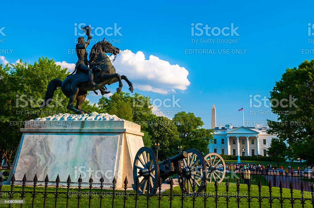 White House with Andrew Jackson Equestrian Statue and Cannons stock photo