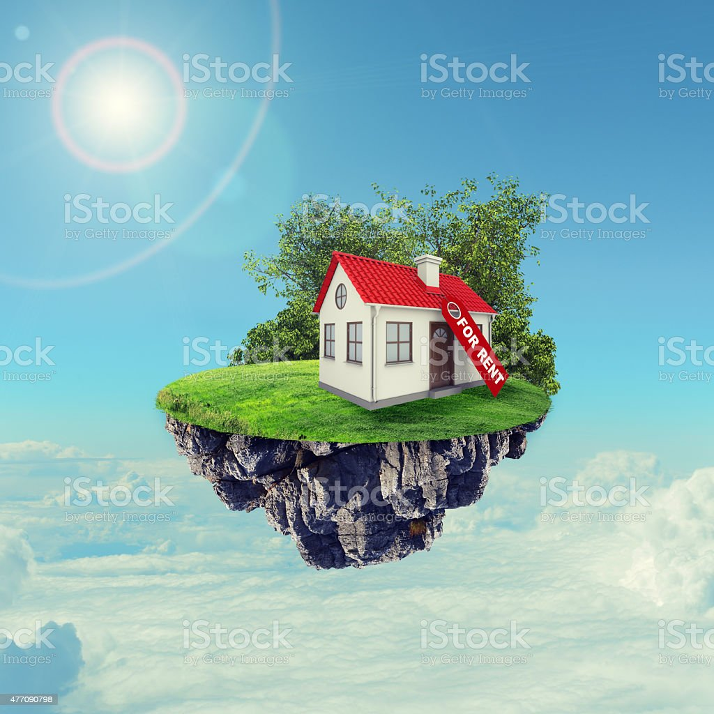 White house with red roof stock photo