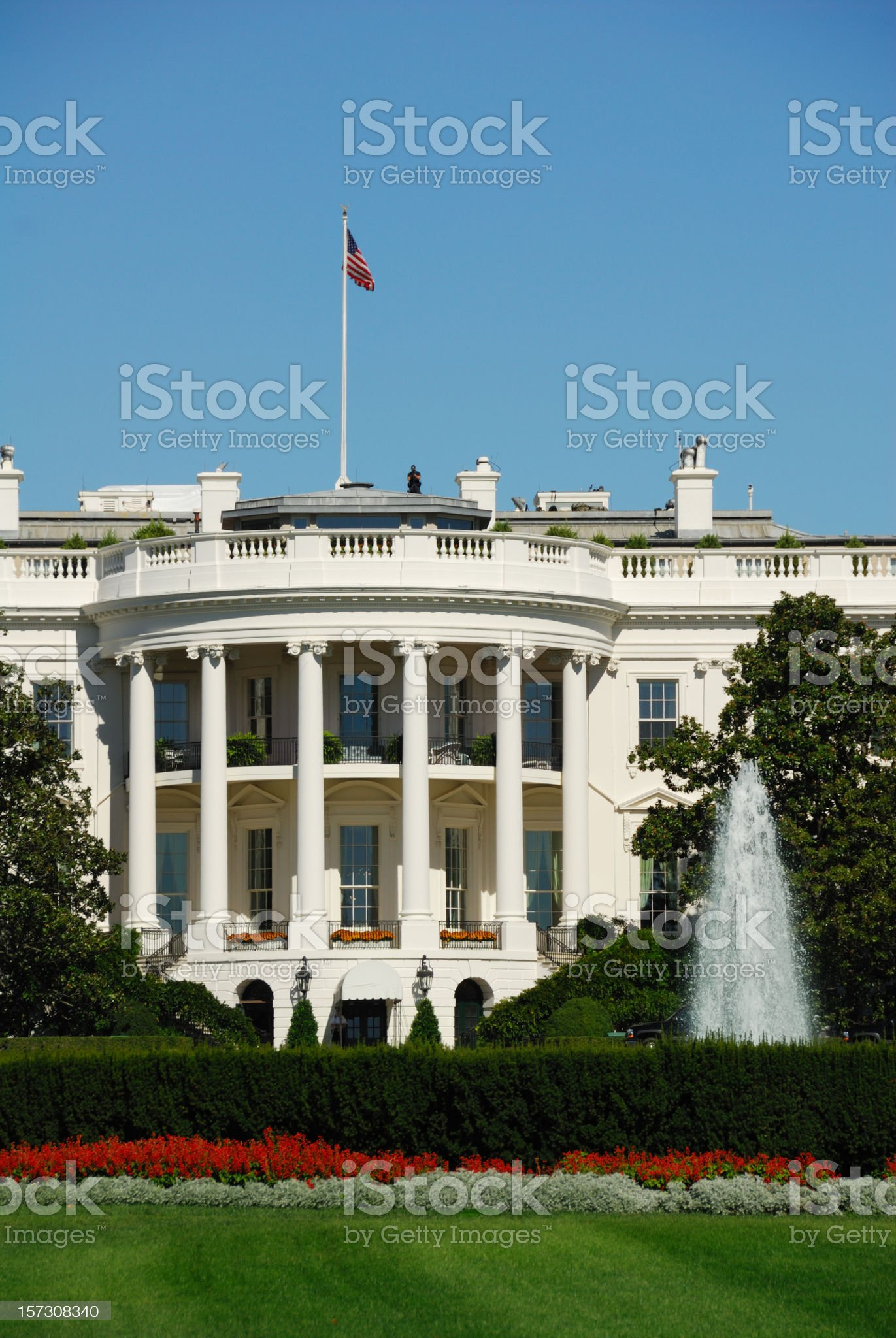White House with Secret Service Agent royalty-free stock photo