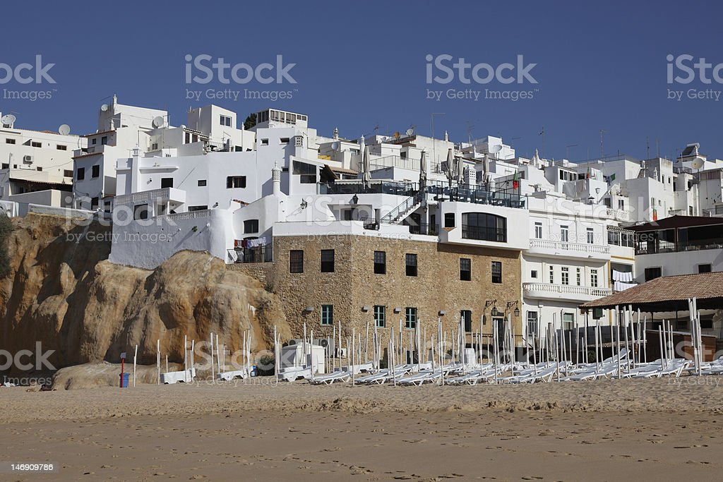 White houses in Albufeira, Portugal stock photo