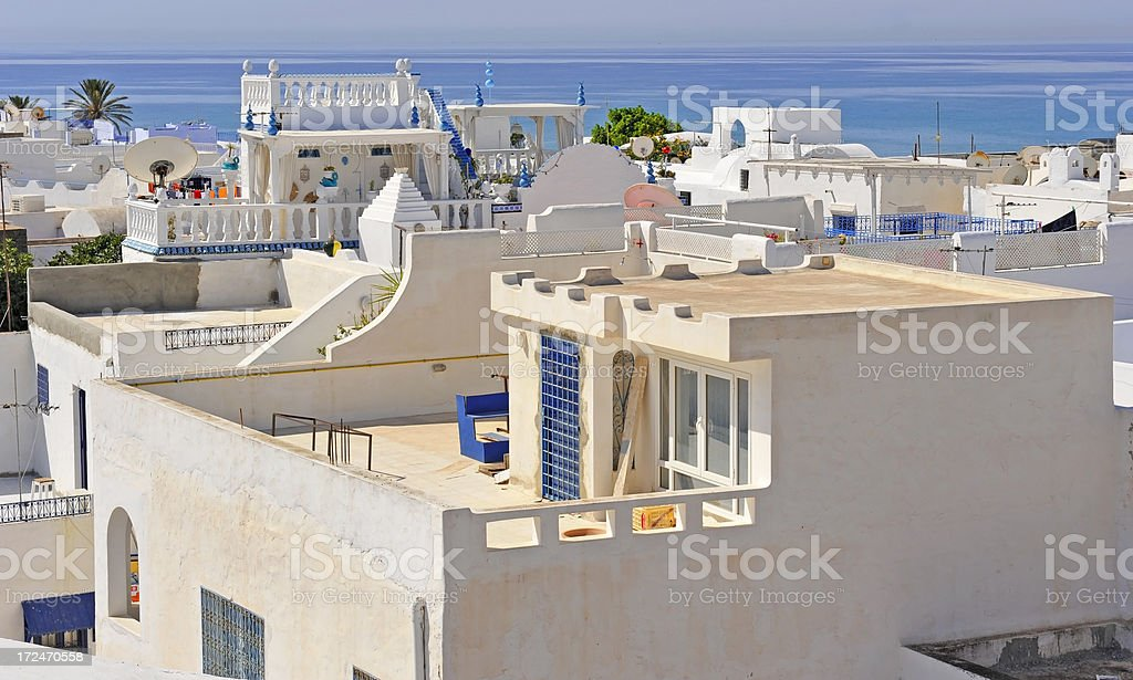 White houses in Hammamet royalty-free stock photo