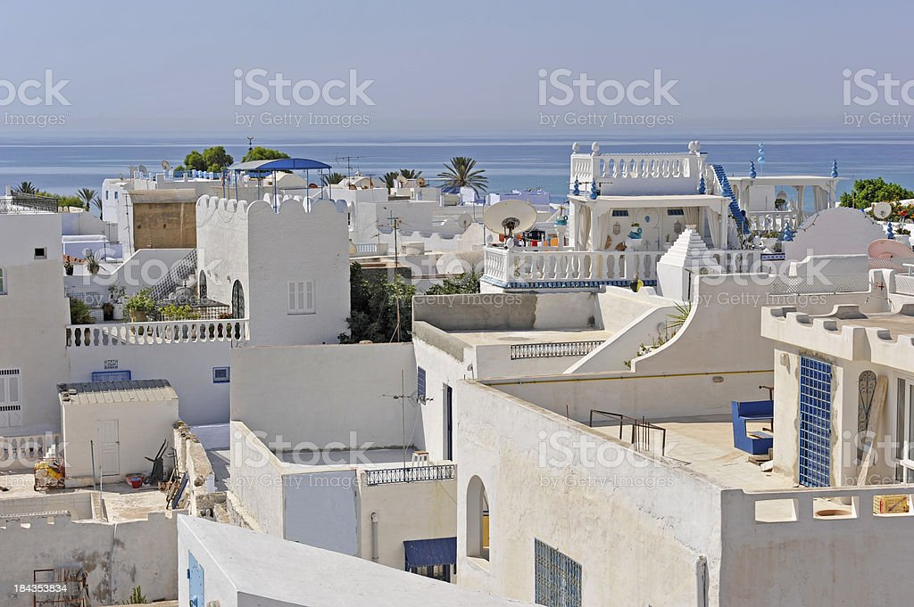 White houses in Hammamet stock photo