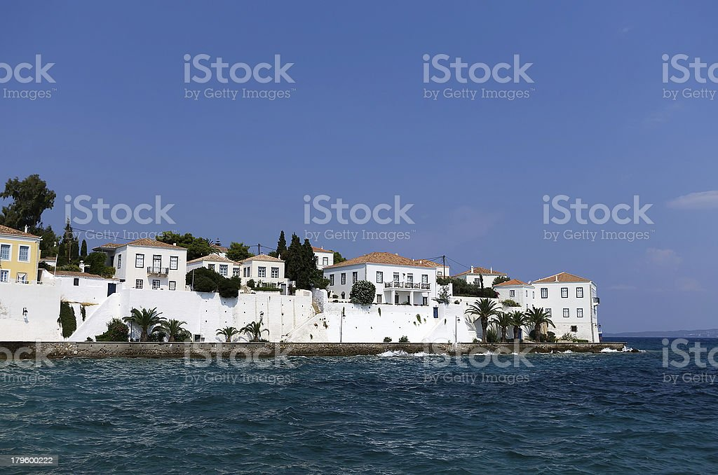 White houses in Spetses island, Greece royalty-free stock photo