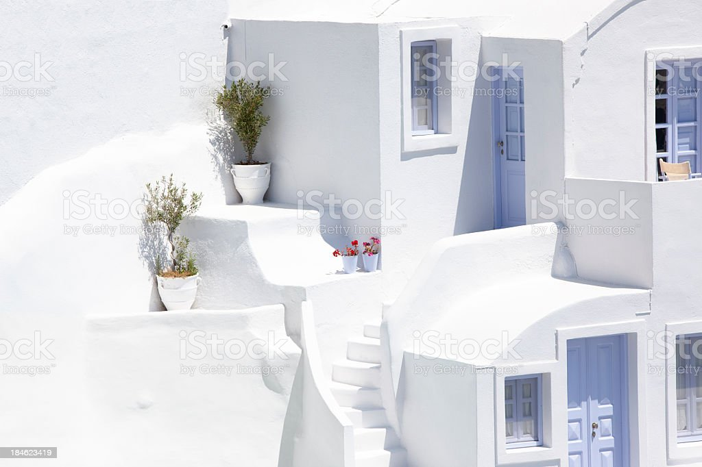 White houses in the city of Oia, Santorini royalty-free stock photo