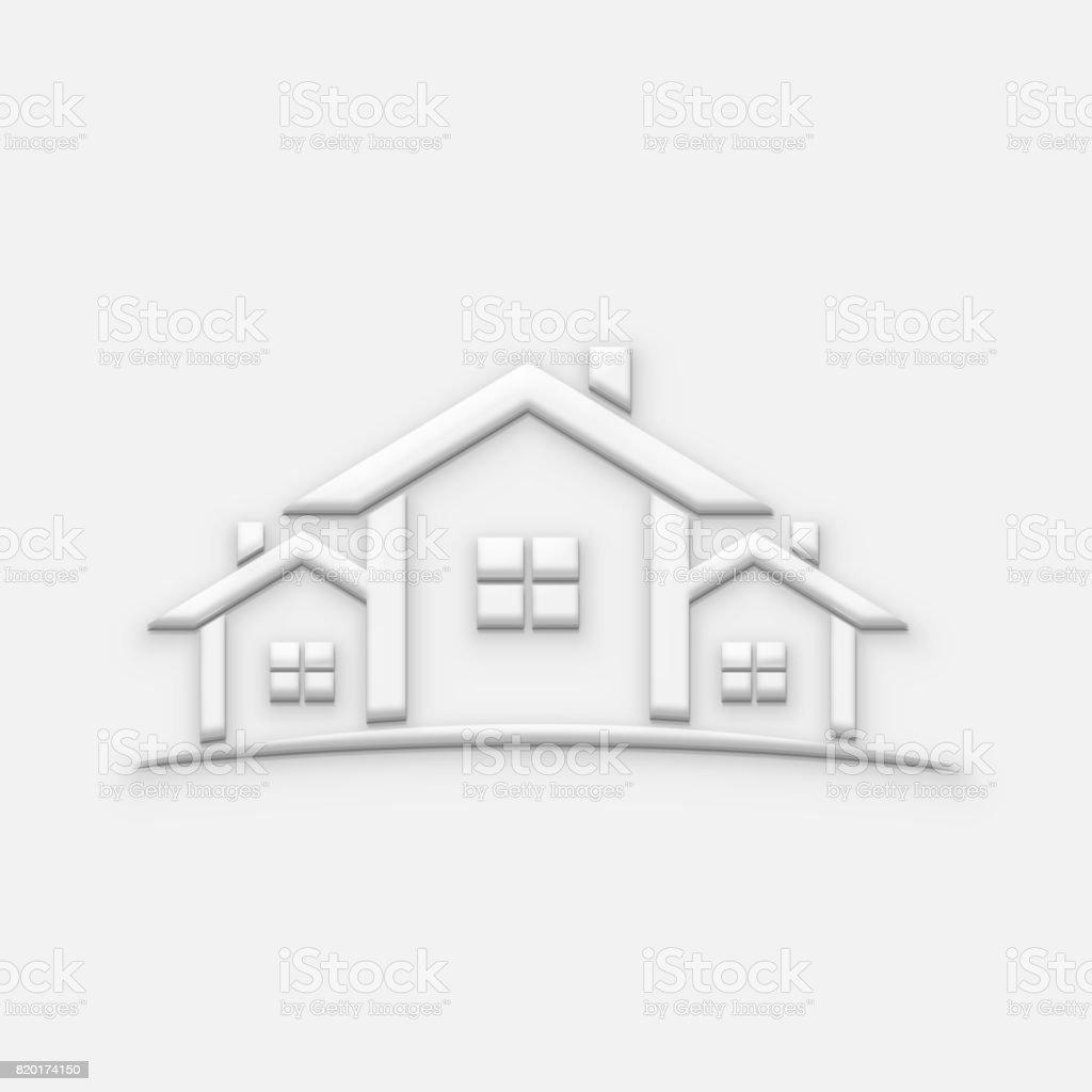 White Houses Real Estate Illustration. 3D Render stock photo
