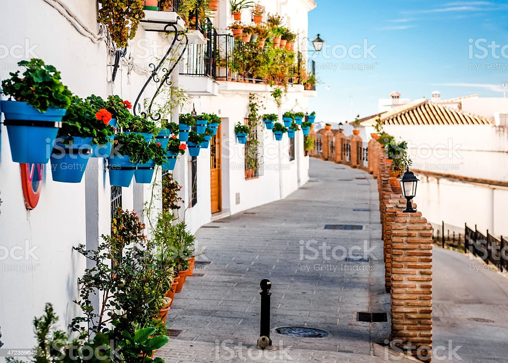 White houses with wall planters in Mijas, Spain stock photo