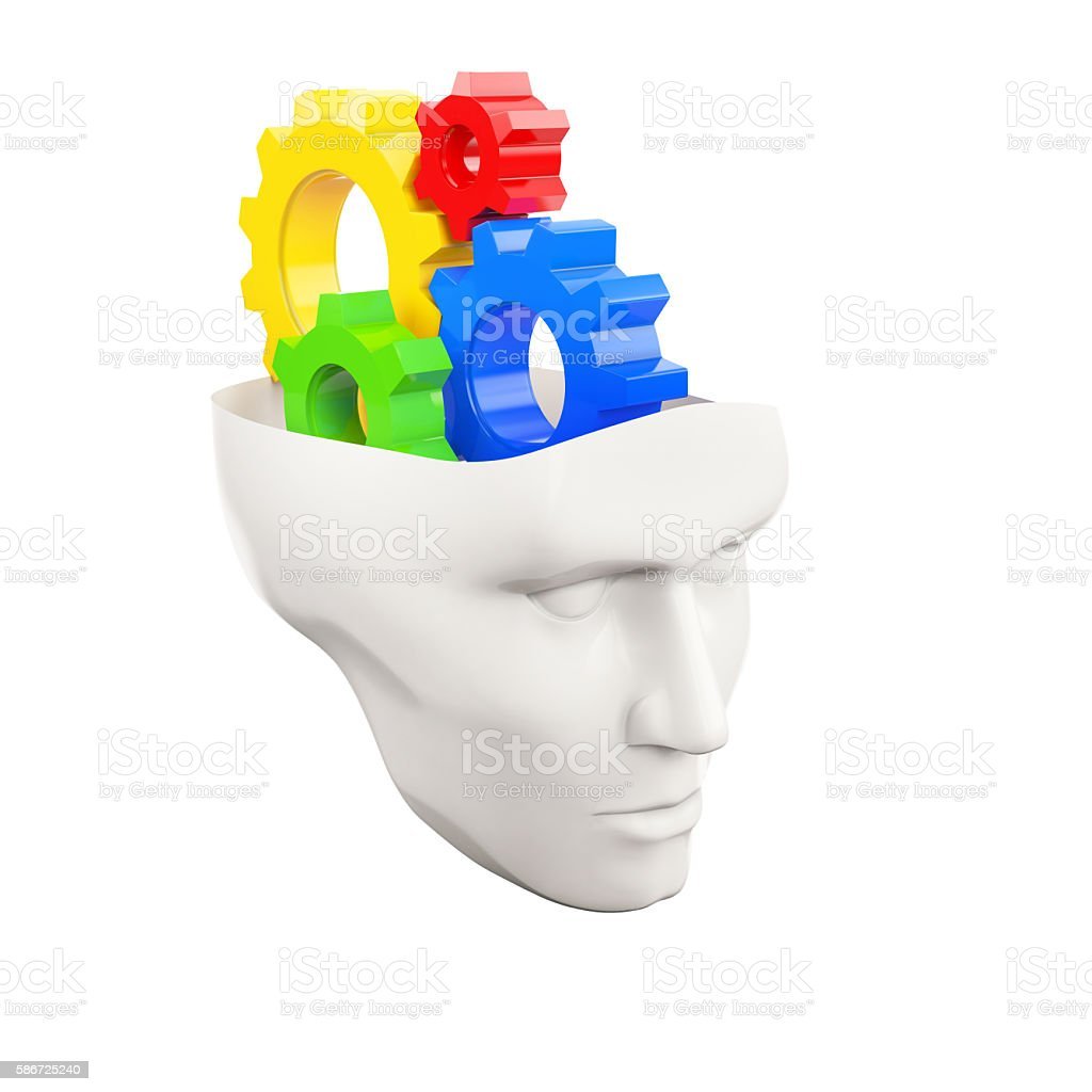 white human head with colored gear wheels stock photo